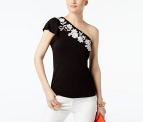 INC International Concepts Embroidered One-Shoulder Top, Deep Black
