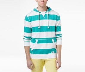 Tommy Hilfiger Men's Striped Cotton Hoodie Sweater, Green/White