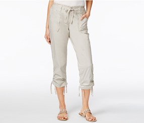 INC Ruffled-Waist Cropped Cargo Pants, Toad Beige