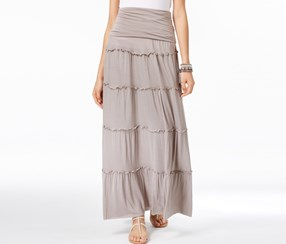 International Concepts Tiered Maxi Skirt Truffle, Taupe