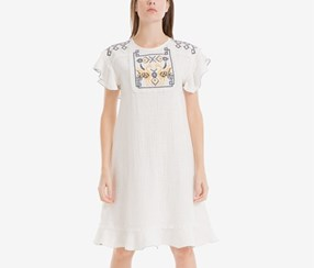 Women Flutter-Sleeve Embroidered Dress, White/Navy