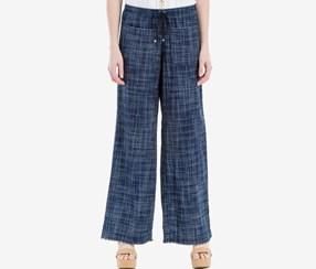 Max Studio Women Frayed Wide-Leg Pants, Indigo