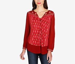 Lucky Brand Embroidered Printed Shirt, Red