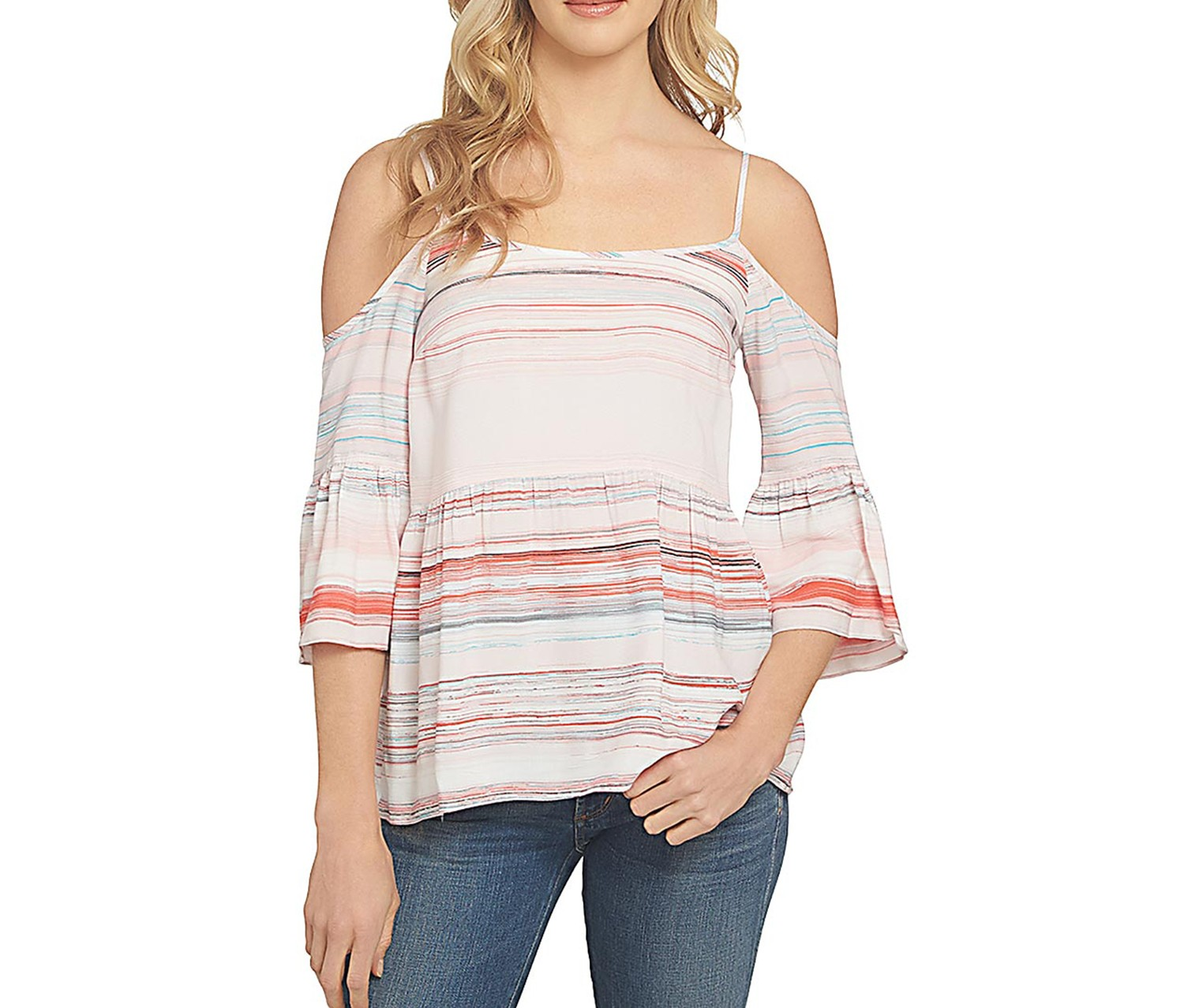 b5a799d0c Shop 1.State 1.state Striped Ruffled Cold-Shoulder Top, Pink for ...
