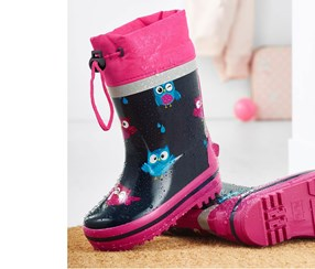 Toddlers Rain Boots, Blue/Pink