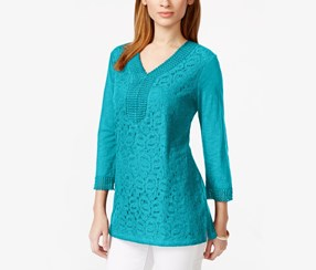 Three Quarter Sleeve Lace Front, Turquoise Pool