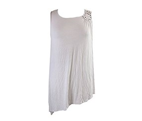 Grace Elements Crochet-Trim Asymmetrical-Hem, Bright White