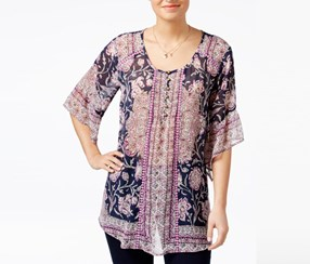 Style & Co Petite Floral-Print Blouse, Lotus Daydream