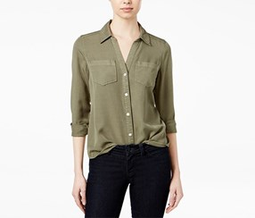 Long sleeve Linen Shirt, Dusty Olive
