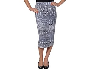 Matty M Women's Patterned Midi Stretch Pencil Skirt, Combo