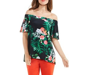 Vince Camuto Women's Havana Tropical Off The Shoulder Top, Rich Black