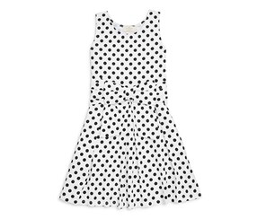 Toddlers Bow Dot Knit Dress, White/Black