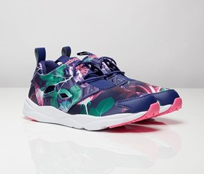 Reebok Women's Furylite Graphic Sneaker, Navy Blue/White/Pink