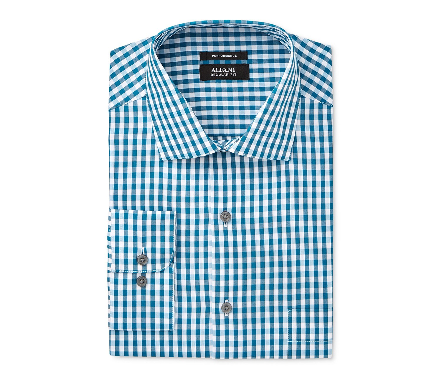 313a7b96f77c Shop Alfani Alfani Mens Check Regular Fit Performance Shirt, Teal ...