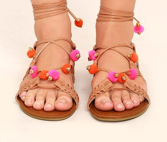 8ce3112692a Shop Madden Girl Madden Girl Bailee Lace-Up Pom-Pom Sandals