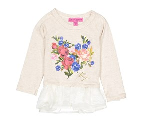 Toddlers Long Sleeve Floral Print Top, Oatmeal
