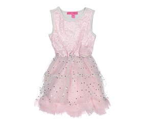 Betsey Johnson Pink Girls Sleeveless Sequin Dress With Ruffles, Pink