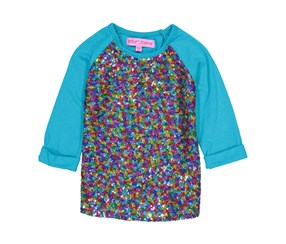Kids Girls Sequin 3/4 Sleeve Top, Toprquoise