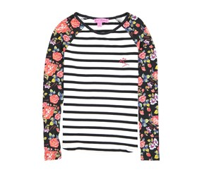 Betsey Johnson Big Girls Stripe Floral Top, Black/White