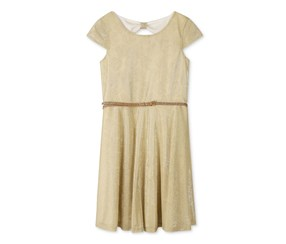 Speechless Cap-Sleeve Fit-and-Flare Dress, Gold