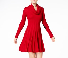 Calvin Klein Cowl-Neck Fit & Flare Sweater Dress, Red