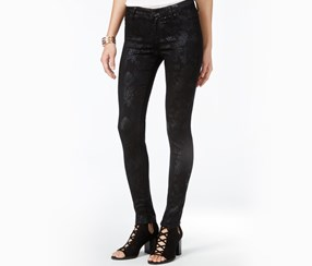 Celebrity Pink Juniors Metallic Print Skinny Jeans, Black