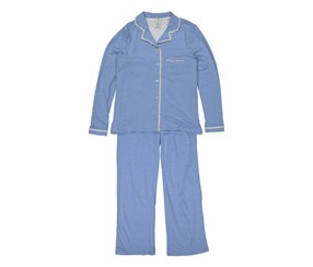 Caribbean Joe Womens Notch Collar Top w/ Satin Details Pajama Set, Heather Blue