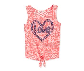 Kandy Kiss Girls Love Tie-front Tank,Coral