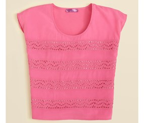 Kids Girls' Crochet Stripe Top, Fuchsia