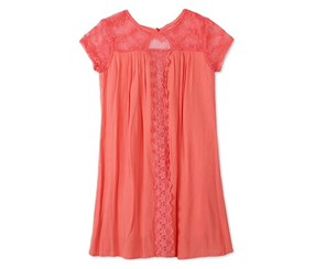 Speechless Lace Swing Dress, Coral