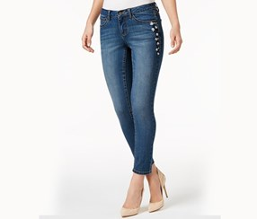 Embroidered Wash Skinny Ankle Jeans, Dark Blue