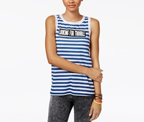 Doe Trouble Striped Graphic Tank Top, Blue/White