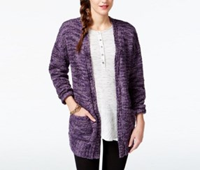 G.H. Bass Co. Marled Open-Front Cardigan, Vivid Violet