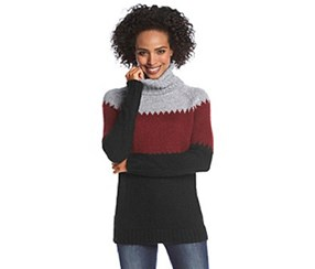 G.H. Bass Co. Colorblocked Cowl-Neck Sweater, Black