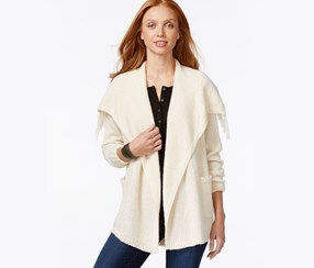 G.H. Bass Co. Open-Front Draped-Collar Cardi, Pearl