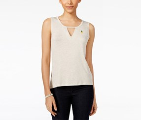 Rebellious One Juniors Charm Tank Top, Heather Oatmeal