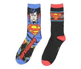 Superman Men's 2 Pack Socks, Blue/Black Combo