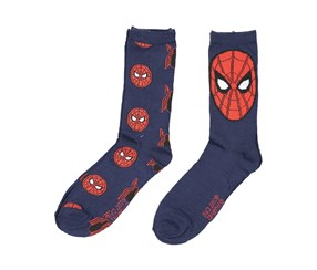 Spider-Man Men's Crew Socks 2 Pair Pack, Navy/Red