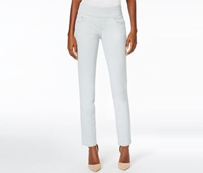 Amelia Cropped Skinny Pull-On Pants, Soft Sage