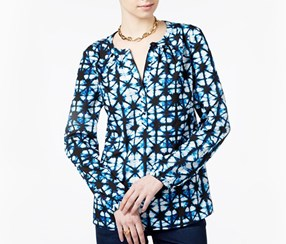Tommy Hilfiger Printed Long Sleeves Blouse, Navy Blue/White