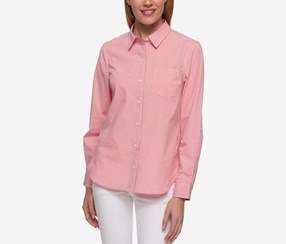 Tommy Hilfiger Gingham-Print Roll-Tab-Sleeve Shirt, Pink/White