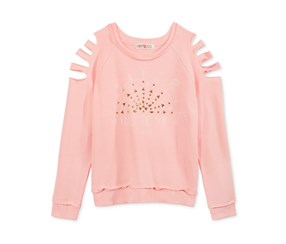 Kandy Kiss Shredded-Sleeve Graphic Top, Pink