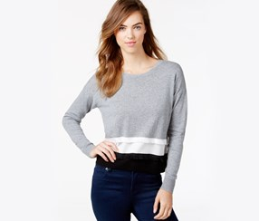 Kensie Soft Cotton Blend Sweater,Heather Grey Combo
