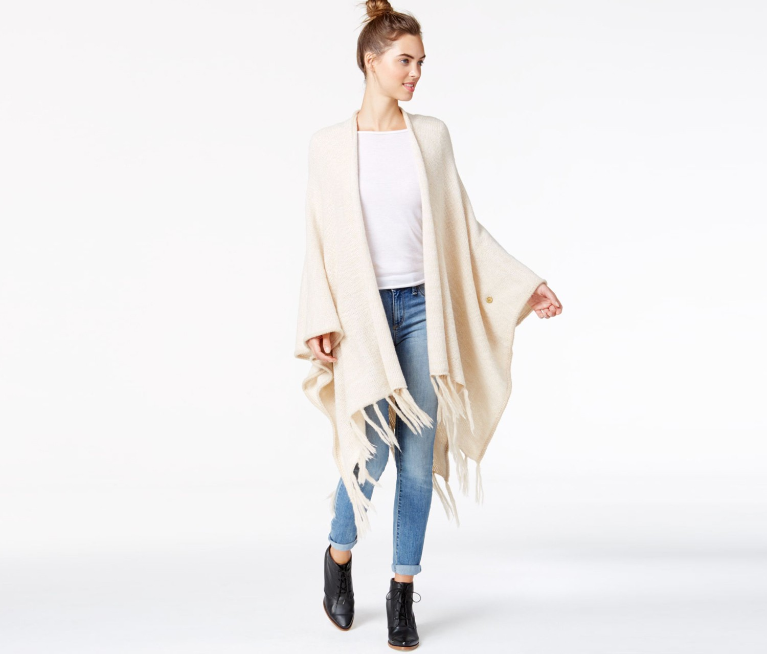 6a0dd78d2 Shop Kensie Kensie Fringe Detail Sweater Poncho, Dune Combo for ...