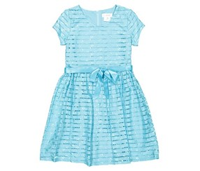 Lavender Short Sleeve Stripe Lace Dress With Full Skirt And Ribbon Belt, Blue