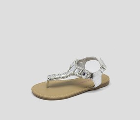Laura Ashley Girl's Toddlers Beaded Sandal,Silver
