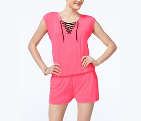 Material Girl Juniors Lace-Up Romper, Flashmode