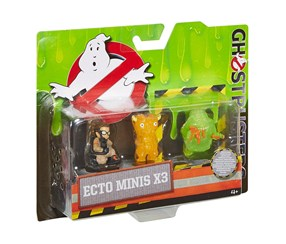 Ghostbusters Ecto Minis Figures 3 Pack - Abby, Slimer Hot dog, Splitting Ghost, Lime/Yellow/Beige