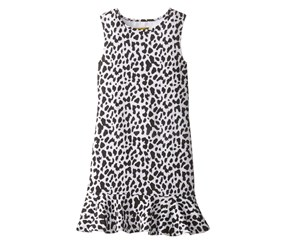 Nicole Miller Big Girls' Printed Textured Knit Dress, Black