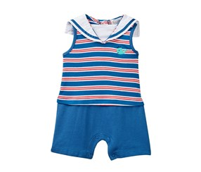 Quiltex Baby Boys' Aboard Sailor Collar Bodysuit, Navy